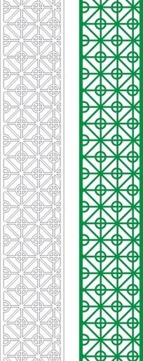绿色中式四方连续图案窗格镂空花纹