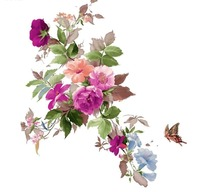手绘玫瑰花丛与蝴蝶