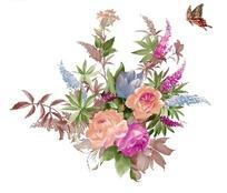 鼠绘多色花束与蝴蝶