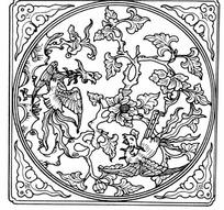 中国古典图案-两只凤凰和牡丹构成的方形图案
