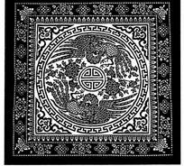 中国古典图案-上下两只凤凰围绕着寿字纹