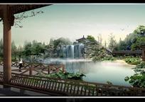 公园亭子中看湖泊