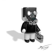 手拎公文包头戴防毒面具的3D小人