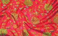 红底色缠枝莲福寿铜钱吉祥图案花布料素材