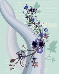 灰色调文字涂鸦背景上的动感曲线与图案花