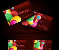 酒红色调与彩色图案横版名片设计