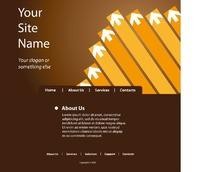 咖啡色和黄色箭头为主的网页设计模版