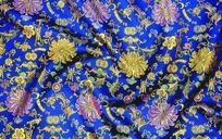 蓝底色缠枝莲福寿铜钱吉祥图案花布料素材