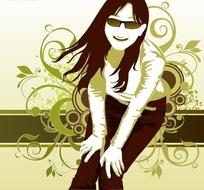 绿色调卷草图案花背景上戴墨镜的时尚女孩