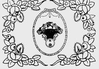 玫瑰和水果盘构成的花纹