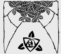 三角形玫瑰和带叶脉的叶子构成的花纹