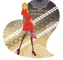 心形图案花背景上手拎包包的红衣时尚女孩