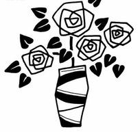 黑白玫瑰图案及花瓶素材