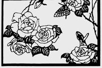 玫瑰花黑白图案素材