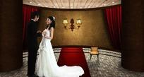 手牵手穿婚纱及西服的情侣素材