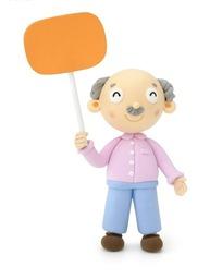 手举橙色牌子的老爷爷