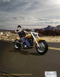 飞速行驶的摩托车创意广告图片
