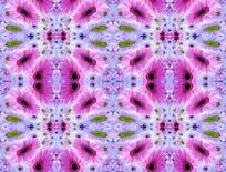 变形的粉色非洲菊和浅粉色花朵构成的图案