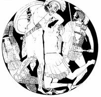 戴盔甲的勇士和女子
