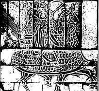 古代壁画-骑马的人的斑驳的图案