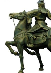 骑马的古代人物侧面雕塑