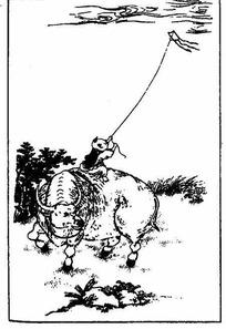 中国古典图案-骑牛放风筝的童子