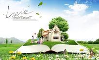 坐在展开的书本草地上的嬉戏的一家人图片素材