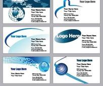 蓝色调创意图案横版名片设计
