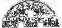 斑驳模糊的半圆形的人物和凤凰的图案