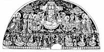 众多神仙构成的半圆形图案