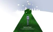 走向成功的绿色之路PSD模板