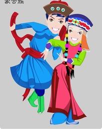 蒙古族卡通人物psd素材