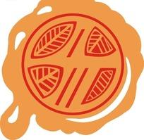 圆形橙红树叶印章