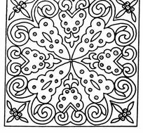 单色对称线条花朵纹样JPG图片