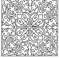 单色对称线条花卉纹样JPG图片