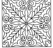 单色对称心形叶片线条纹样JPG图片