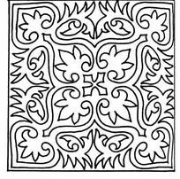 单色四角对称线条叶脉纹样JPG图片