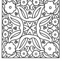黑白四角对称线条花卉JPG图片