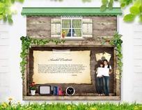白色横木纹背景衬托木质房屋便笺素材