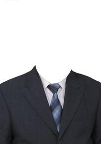 藏蓝西服蓝格纹领带