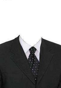 黑西服黑底小圆点领带换脸模板