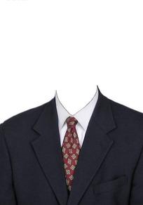 黑西服红底方块领带换脸模板