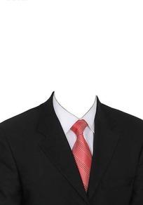 黑西服红色条纹领带换脸模板