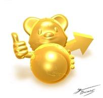金色的卡通造型抱着地球模型的小老鼠