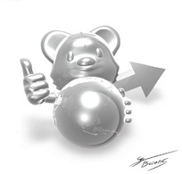 卡通动物一只抱着地球模型的小老鼠