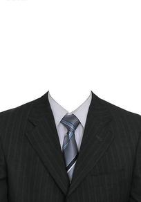浅色条纹黑西服亮银色条纹领带换脸模板
