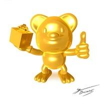 手拿精美礼盒并竖着大拇指的金色卡通动物