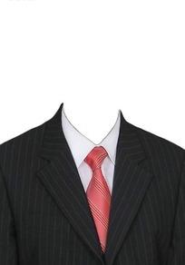 条纹黑西服红领带换脸模板