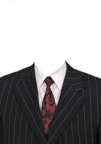 条纹西服花领带换脸模板