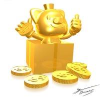 藏在纸盒子中的金色小猪和金币